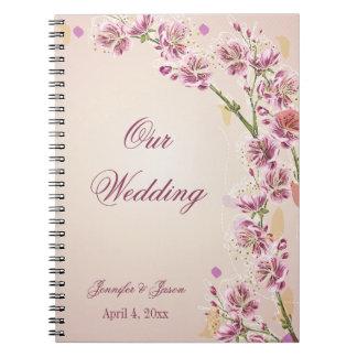 Lilac purple watercolor flowers wedding planner notebook