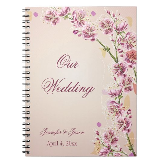 Lilac purple watercolor flowers wedding planner notebooks