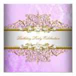 Lilac Purple White Gold Elegant Party Personalised Announcement