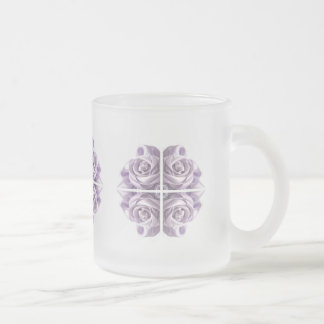 Lilac Rose Abstract Frosted Glass Coffee Mug