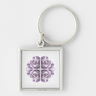 Lilac Rose Abstract Key Ring