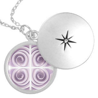 Lilac Rose Abstract Swirls Locket Necklace
