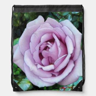 Lilac Rose Drawstring Backpacks
