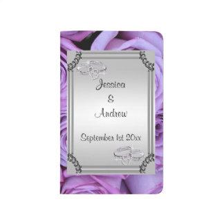 Lilac Roses, Silver Frame & Diamond Wedding Rings Journal