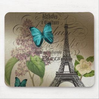 lilac scripts modern vintage paris eiffel tower mouse pad