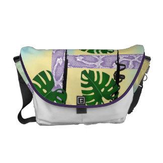 Lilac Snakeskin Tropical Leaves Messenger Bag