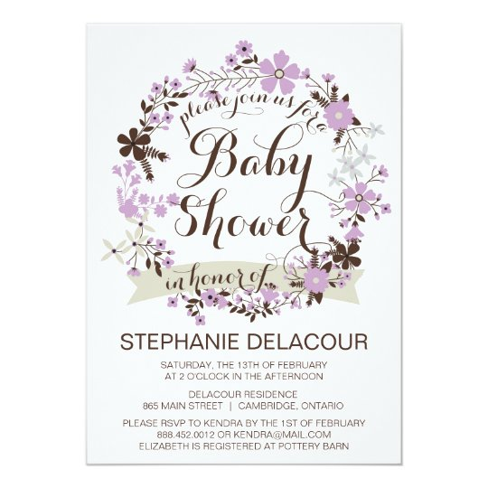 Lilac Spring Floral Wreath Baby Shower Invitation