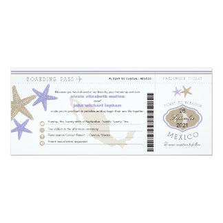 Lilac Starfish Mexico Boarding Pass Wedding 10 Cm X 24 Cm Invitation Card