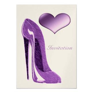 Lilac stiletto shoe and 3D heart  Invitation 13 Cm X 18 Cm Invitation Card