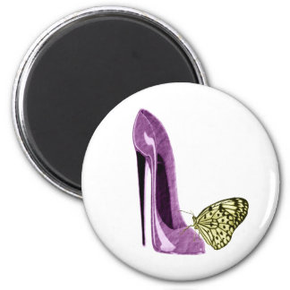 Lilac Stiletto Shoe and Butterfly Gifts Magnet