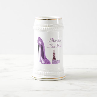 Lilac Stiletto Shoe and Lipstick Art Beer Stein
