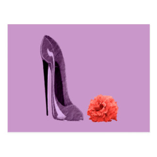 Lilac Stiletto Shoe and Rose Art Post Cards