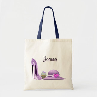 Lilac Stiletto Shoe, Cupcake and Hat Art Tote Bag