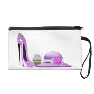 Lilac Stiletto Shoe, Cupcake and Hat Art Wristlets