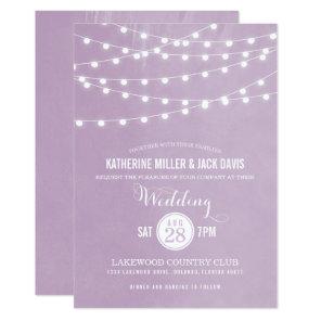 Lilac String Lights Wedding Invitation