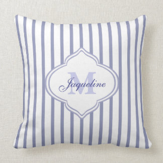 Lilac Stripe Monogram Cushion
