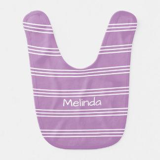 Lilac Stripes custom monogram baby bib