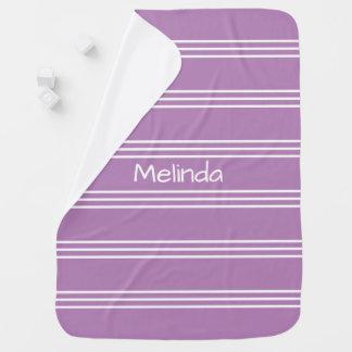 Lilac Stripes custom monogram baby blanket