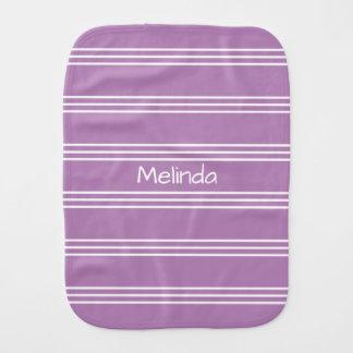 Lilac Stripes custom monogram burp cloth