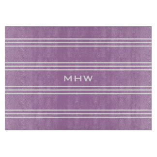 Lilac Stripes custom monogram cutting boards