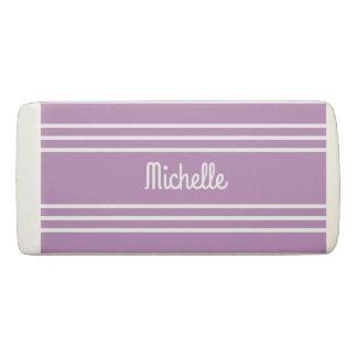 Lilac Stripes custom monogram eraser