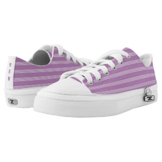 Lilac Stripes custom monogram low top shoes Printed Shoes