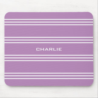 Lilac Stripes custom monogram mousepad