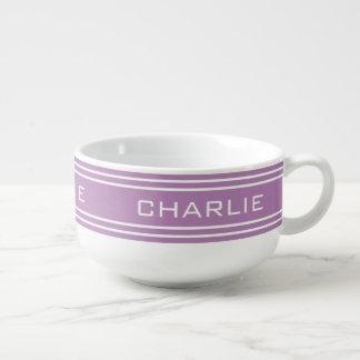 Lilac Stripes custom monogram soup mug