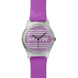 Lilac Stripes custom monogram watch