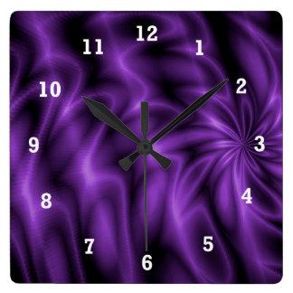 Lilac Swirl Square Wall Clock