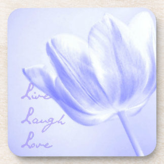 Lilac Tulip Live, Laugh, Love Drink Coaster