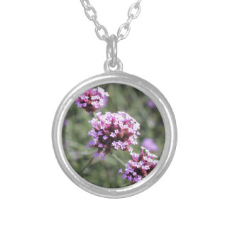 Lilac Verbena Flower Sprig Silver Plated Necklace