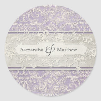 Lilac Vintage French Regency Lace Etched Wedding Round Sticker