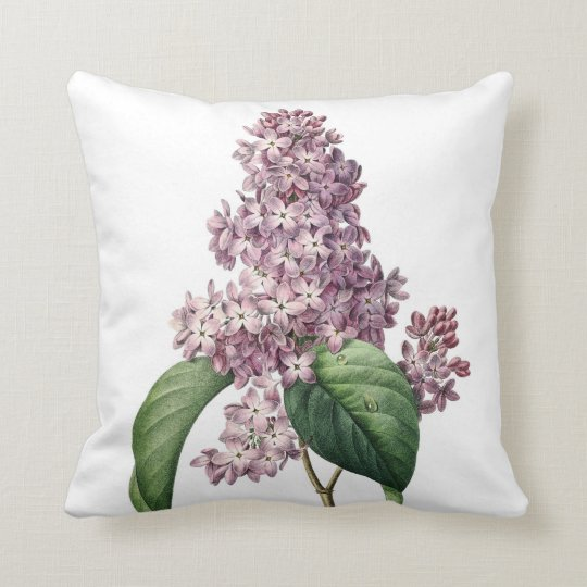 Lilac vintage illustration Redoute Cushion