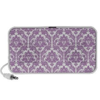 Lilac Violet Damask Pattern Travel Speakers