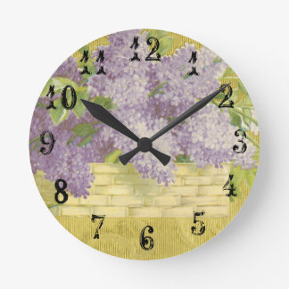 Lilac Wall Clock French Country Decor Shabby Chic