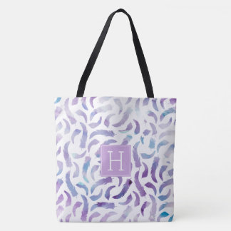 Lilac Watercolor Feathers Pattern Tote Bag