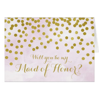 Lilac Watercolor Gold Dots Maid of Honour Invite