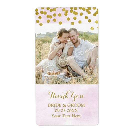 Lilac Watercolor Gold Dots Photo Wedding Label