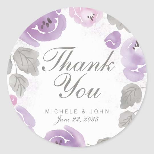 Lilac Watercolor Roses Thank You Favour Stickers