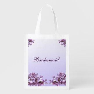 Lilac Wedding Bridesmaid Reusable Tote Grocery Bags