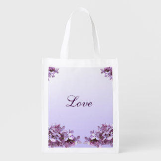 Lilac Wedding Love Reusable Tote Grocery Bags