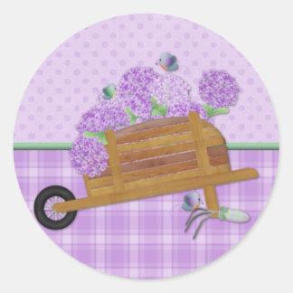 Lilac Wheelbarrow 2 Round Sticker