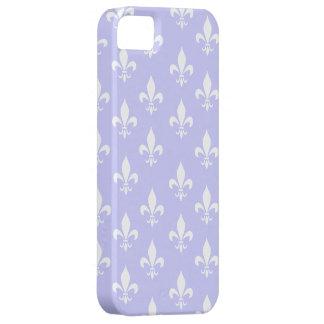 Lilac & White Fleur De Lis Pattern iPhone 5 Case