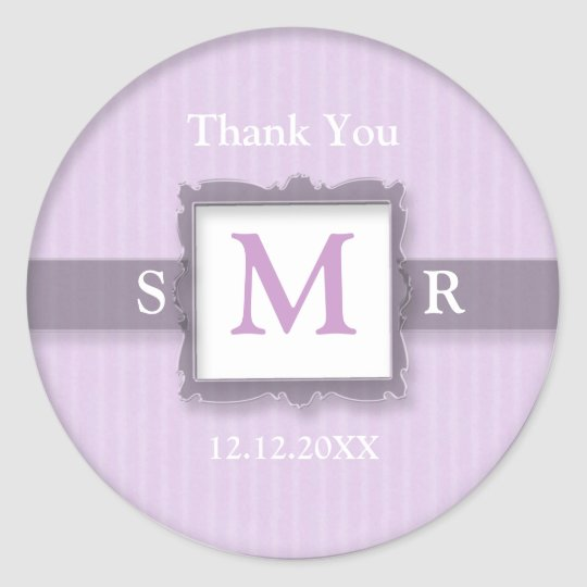Lilac White Three Letter Monogram Thank You Favour Classic Round Sticker