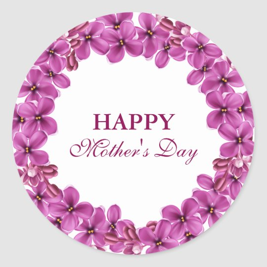 Lilac Wreath Happy Mothers Day Stickers