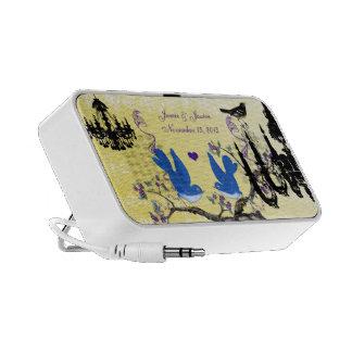 Lilac & Yellow Vintage Love Birds Black Chandelier Mp3 Speakers