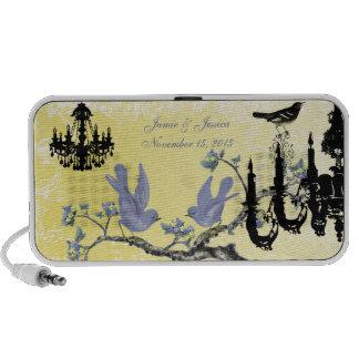 Lilac & Yellow Vintage Love Birds Black Chandelier Laptop Speaker