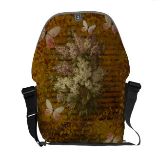 lilacs and butterflies courier bag