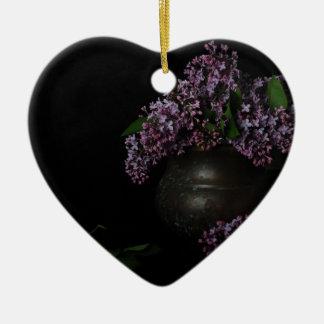 Lilacs and Patina Ceramic Heart Decoration